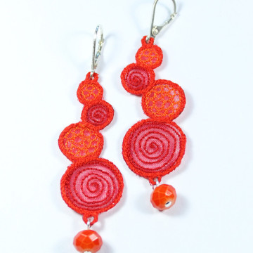 Boucles spirales corail rouge orange