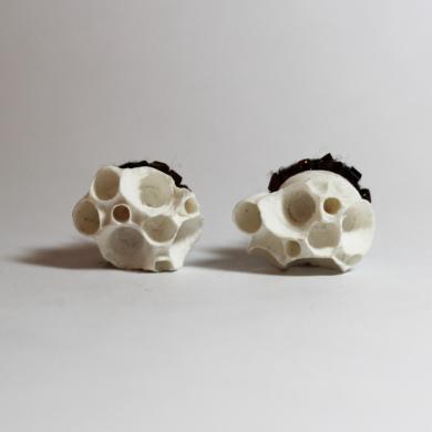 boucles d'oreilles inspiration corail,groupe d'alvéoles en porcelaine blanche, sur feutre noir, tour brodé de perles de rocaille cuivrées, montées sur clou en argent